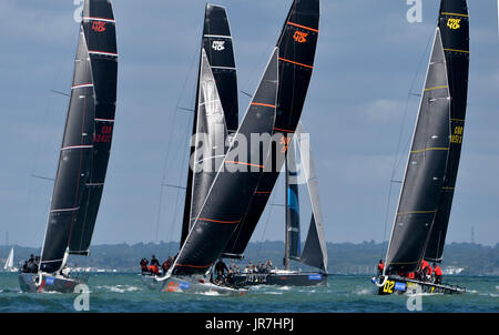 Cowes, UK. 4th Aug, 2017. Lendy Cowes Week Sailing All classes  Fast 40+ yachts Credit: Leo Mason sports photos/Alamy - Stock Photo