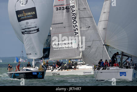 Cowes, UK. 4th Aug, 2017. Lendy Cowes Week Sailing All classes  IRC Class 2 yachts Credit: Leo Mason sports photos/Alamy - Stock Photo