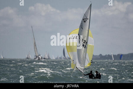 Cowes, UK. 4th Aug, 2017. Lendy Cowes Week Sailing All classes Flying 15 class yacht Credit: Leo Mason sports photos/Alamy - Stock Photo