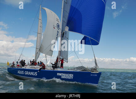 Cowes, UK. 4th Aug, 2017. Lendy Cowes Week Sailing All classes  IRC Zero Class yacht Aquis Granus GER Credit: Leo - Stock Photo