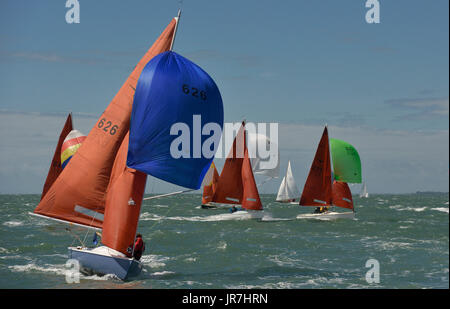 Cowes, UK. 4th Aug, 2017. Lendy Cowes Week Sailing All classes  Squib class boats Credit: Leo Mason sports photos/Alamy - Stock Photo
