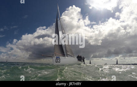 Cowes, UK. 4th Aug, 2017. Lendy Cowes Week Sailing All classes  IRC Class 3 yacht Credit: Leo Mason sports photos/Alamy - Stock Photo