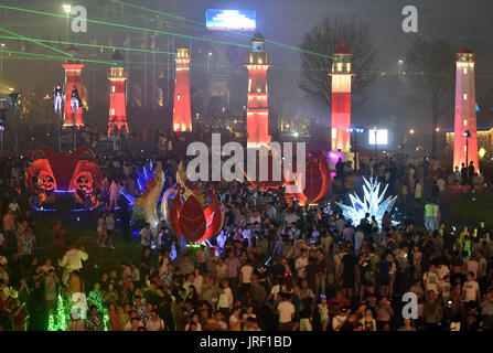 Qingdao. 5th Aug, 2017. People attend the Qingdao International Beer Festival in Qingdao, east China's Shandong - Stock Photo