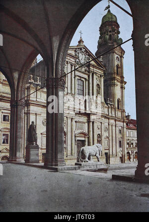 Historical photo of Feldherrnhalle and church Theatinerkirche, Munich, Bavaria, Germany, Digital improved reproduction - Stock Photo