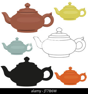 Isolated ceramic teapots set. Abstract design logo. Vector illustration. - Stock Photo