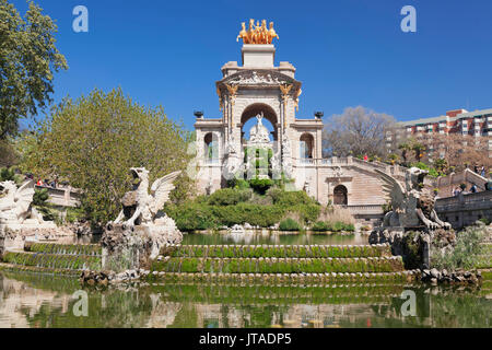 La Cascada, fountain with Quadriga de l'Auroa, Architect Josep Fontsere, Parc de la Ciutadella, Barcelona, Catalonia, - Stock Photo