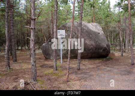Boulder named Liiva-aia kivi in village Linaküla. Kihnu island. Estonia 5th August 2017 - Stock Photo