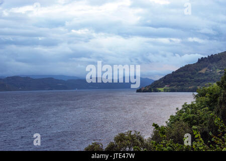 Scotland, Highlands, Loch Ness, Travel, Tourism, Sightseeing, Sea, Blue skies, Vacation, Holiday, Landscape, Sand, - Stock Photo