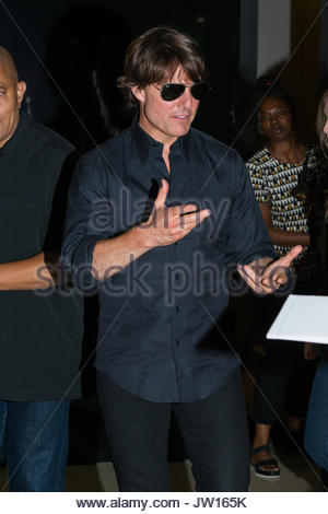 NEW YORK, NY - JULY 26: Actor Tom Cruise and director Christopher McQuarrie attend a special screening of Mission: - Stock Photo