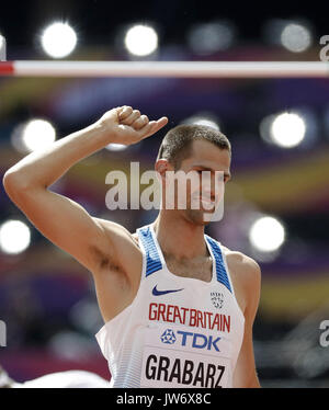 London, UK. 11th Aug, 2017. British athlete Robert Grabarz reacts as he competes in the men's High Jump qualification - Stock Photo