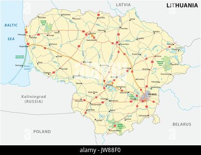 Lithuania political map with capital Vilnius national borders and