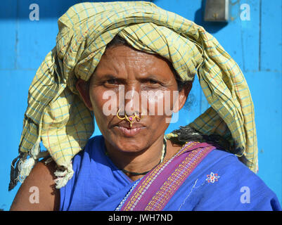 Closeup street portrait (outdoor headshot, full-face view) of a mature Indian Adivasi market woman with two golden - Stock Photo