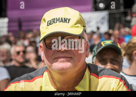 London, UK. 12th Aug, 2017. Wolfgang Kuehne, German coach, follows the IAAF World Championships in London, UK, 12 - Stock Photo