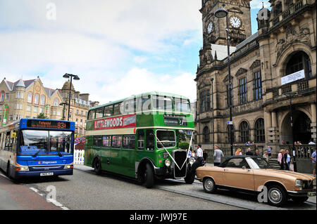 Wedding Party arrive by Bus - Stock Photo