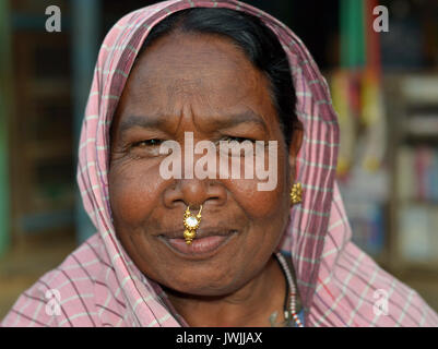 Closeup street portrait (outdoor headshot, seven-eighths view) of an overweight, mature Indian Adivasi market woman - Stock Photo