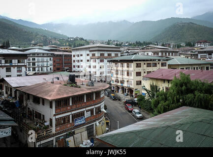 Thimphu, Bhutan - Aug 29, 2015. Buildings located at business district in Thimphu, Bhutan. In South Asia, Bhutan - Stock Photo