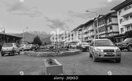 Thimphu, Bhutan - Aug 29, 2015. Main square at downtown in Thimphu, Bhutan. In South Asia, Bhutan ranks first in - Stock Photo
