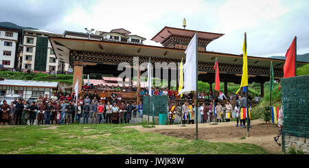 Thimphu, Bhutan - Aug 29, 2015. People at business center in Thimphu, Bhutan. In South Asia, Bhutan ranks first - Stock Photo