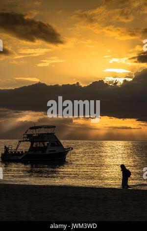 Caribbean Sunset, Negril, Jamaica - Stock Photo