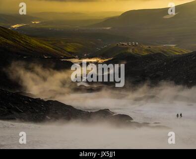Kamchatka Territory, Russia. 12th Aug, 2017. Smoke over mountains in Kamchatka. Credit: Yuri Smityuk/TASS/Alamy - Stock Photo