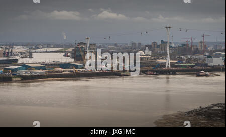 Emirates Air Line cable car and London City Airport in England - Stock Photo