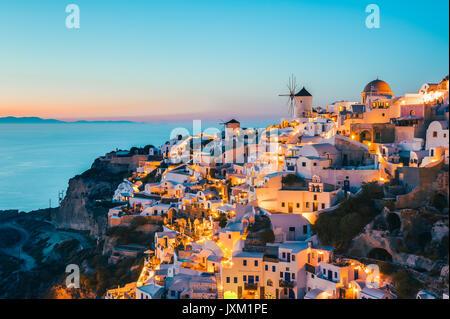 Oia Santorini Greece at dusk - Stock Photo