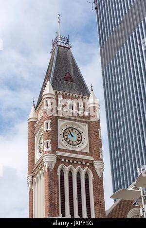 Town Hall clock tower, Perth, Western Australia - Stock Photo