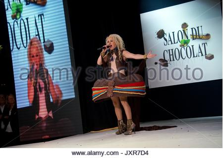 Christelle Chollet. Fashion chocolate show at Salon du Chocolat at Portes de Versailles on October 29, 2013 in Paris, - Stock Photo
