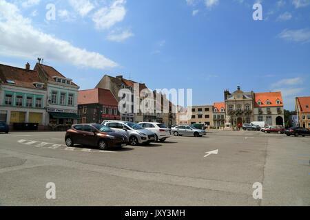 Place Foch with hotel de ville (town hall), Guines, Pas de Calais, Hauts de France, France - Stock Photo