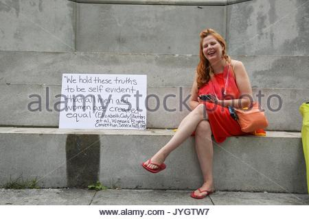 Boston, USA. 19th Aug, 2017. Counter-protesters arrive early to a conservative free speech rally in Boston, Massachusetts - Stock Photo