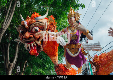 Bali, Indonesia - March 08, 2016:   Ogoh-Ogoh statues at the parade during Balinese New Year celebrations on March - Stock Photo