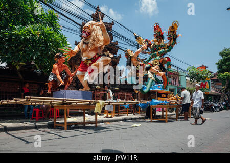 Bali, Indonesia - March 08, 2016:   Ogoh-Ogoh statues being prepared for the parade during Balinese New Year celebrations - Stock Photo