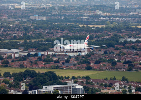 A British Airways Airbus A380 on approach to London Heathrow Airport - Stock Photo