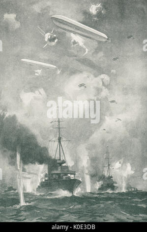 Air raid on Cuxhaven Christmas day, 1914 - Stock Photo