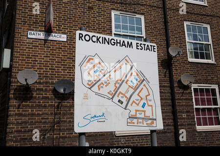 London, UK. 14th August, 2017. A sign indicating the Rockingham Estate in Southwark. The Rockingham Estate is one - Stock Photo