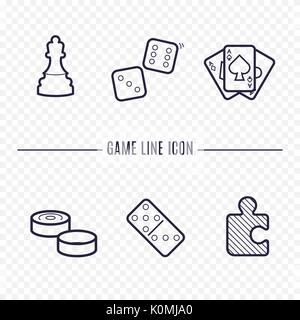 Games linear icons. Chess, dice, cards, checkers and other board games. Game thin linear signs. Outline concept - Stock Photo