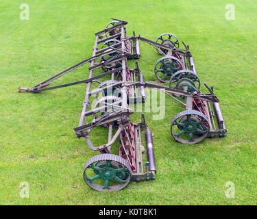 Cutting Grass Football Pitch Ground Iseki Stock Photo