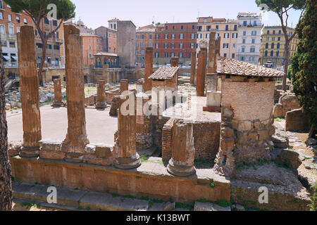 Ancient ruins on the square of Torre Argentino in Rome, Italy - Stock Photo