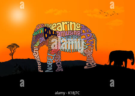 Beautiful elephant made from words on a safari background. - Stock Photo