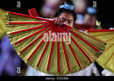 Moscow, Russia. 25th Aug, 2017. Taoist monks from Wudangshan, China, at the dress rehearsal of the opening ceremony - Stock Photo