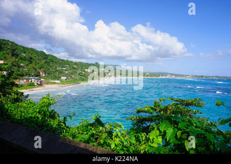 View to the Long bay beach and surrounding areas in Portland Parish in the East coast of Jamaica on 30 December - Stock Photo