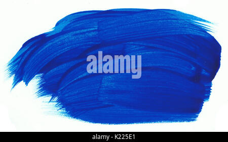 A blue paint dab on a white paper. Artistic element. - Stock Photo
