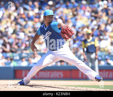 Los Angeles, California, USA. 27th Aug, 2017. Yu Darvish (Dodgers) MLB : Los Angeles Dodgers starting pitcher Yu - Stock Photo