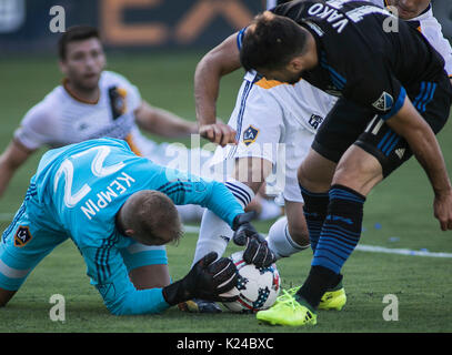 Carson, USA. 27th Aug, 2017. Jon Kempin (L) of the Los Angeles Galaxy competes during the 2017 Major League Soccer - Stock Photo