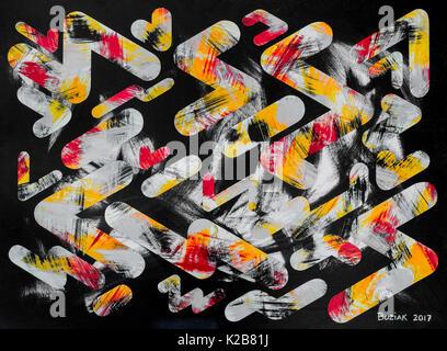 'Night Shift #2' - abstract artwork by Ed Buziak. - Stock Photo