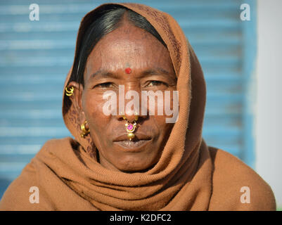 Elderly Indian Adivasi woman (Desia Kondh tribe aka Kuvi Kondh) with gold-and-gemstone nose jewellery and golden - Stock Photo