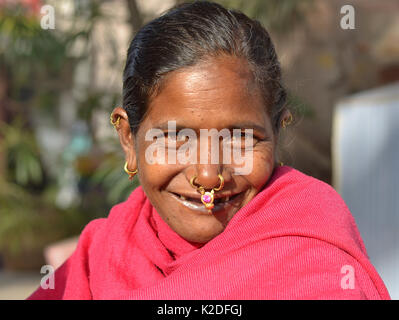 Elderly Indian Adivasi woman (Desia Kondh tribe aka Kuvi Kondh) with gold-and-gemstone nose jewellery and tribal - Stock Photo