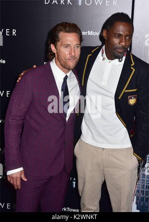 New York premiere of 'The Dark Tower' at the Museum of Modern Art in New York City.  Featuring: Matthew McConaughey, - Stock Photo