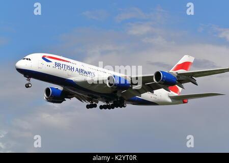 British Airways Airbus A380 G-XLEE landing at London Heathrow Airport, UK - Stock Photo