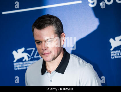 Venice, Italy. 2nd Sep, 2017. Actor Matt Damon poses during a photocall for the movie 'Suburbicon' in competition - Stock Photo